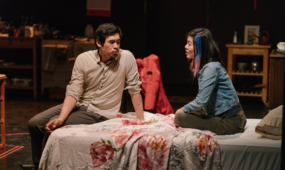 Al Patrick Jo as Tang Meng/Dan and Stefani Kuo as Abby. Photo by Elvin Hu.