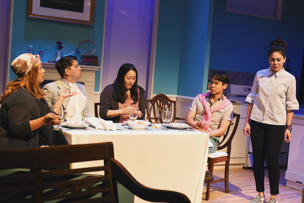 The cast of  Two Mile Hollow , featuring Rinabeth Apostol, Greg Ayers, Sean Fenton, Karen Offereins, and Michelle Talgarow.