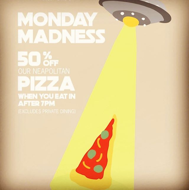 Yes 50% off our Neapolitan pizzas when you eat in after 7pm... #forestgate #mondaymadness #pizzeria