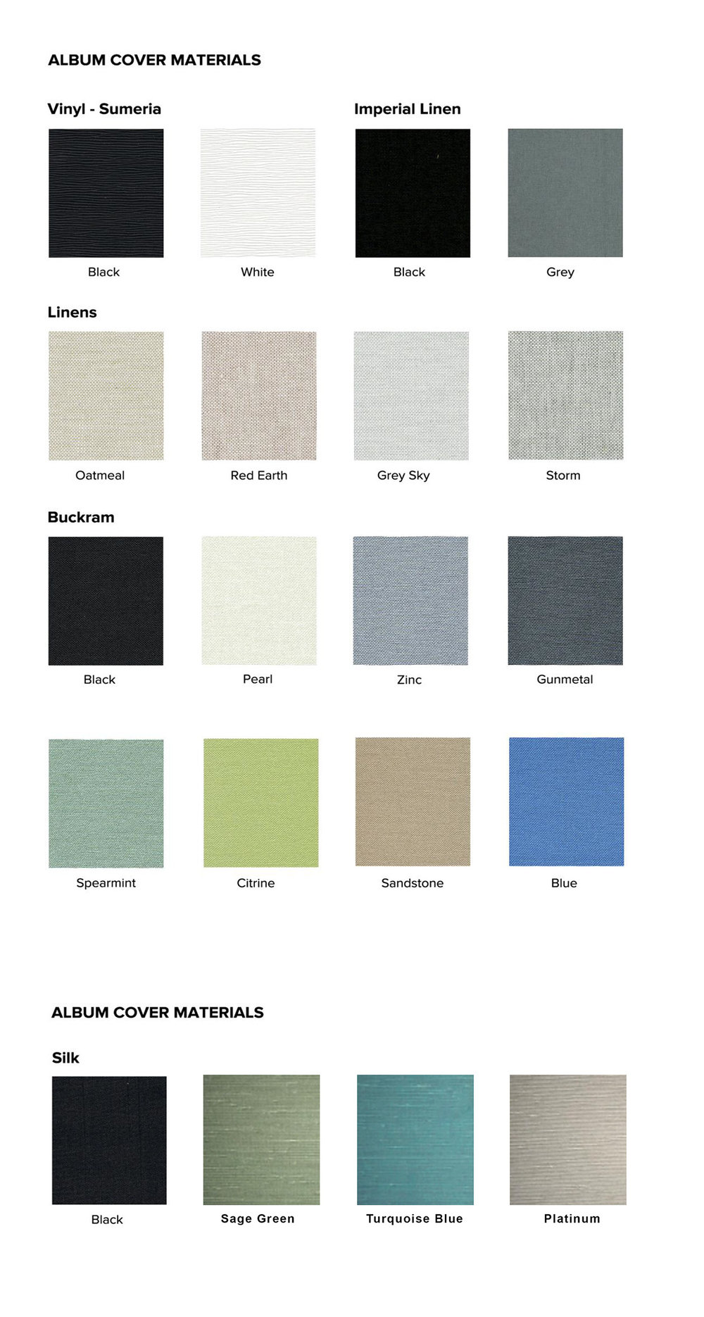 Click to view Vinyl (Sumeria), Linens, Buckram & Silk Covers