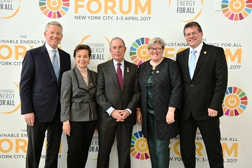 Global Covenant of Mayors Co-Chairs Michael R. Bloomberg, former New York City Mayor (center) and European Commission Vice President Maros Sefcovic (far right) pose with other speakers at the Sustainable Energy for All event in New York.