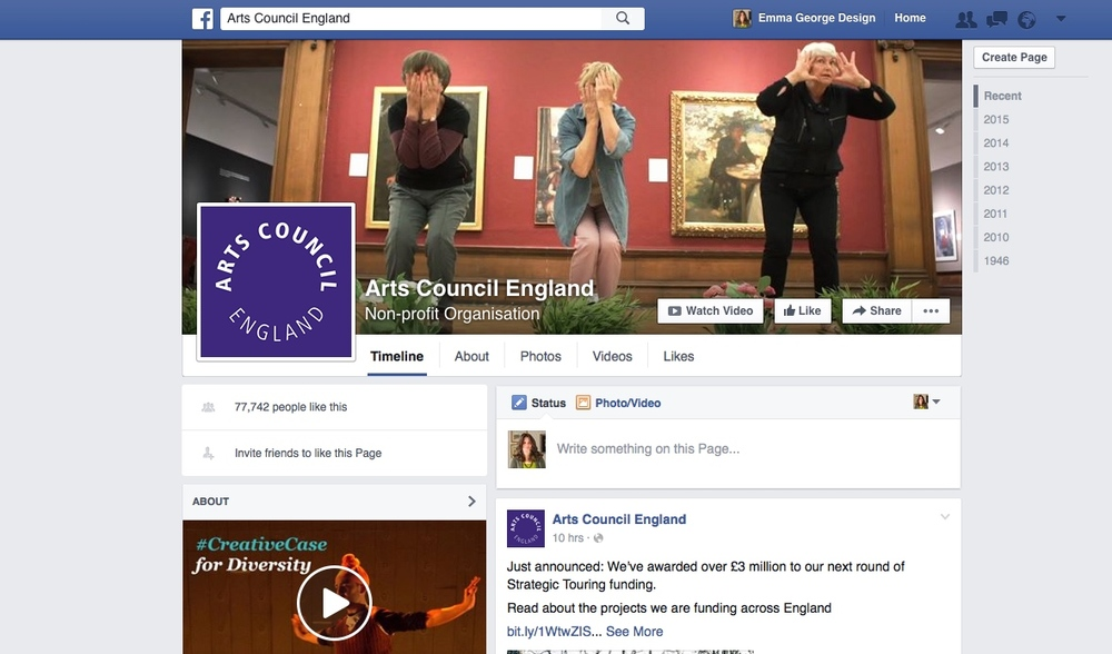 Our brief appearance as The Arts Council Facebook Page Cover