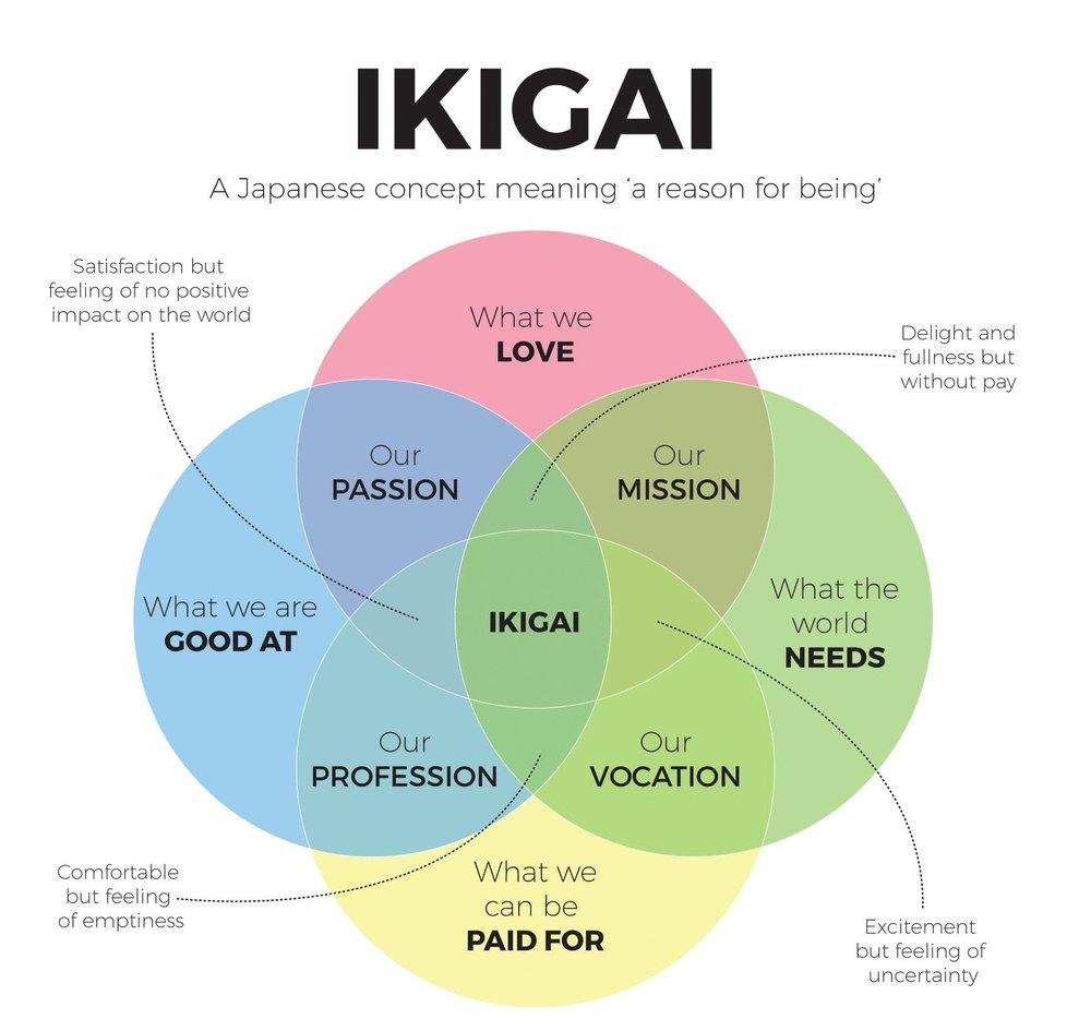 Above is a venn diagram demonstrating the concept of Ikigai - the circles overlap to demonstrate the aspects of your life you need to examine to discover your reason for being. They cover: what we are good at, what we can be paid for, our profession, our vocation, what the world needs, what we love, our mission and our passion.