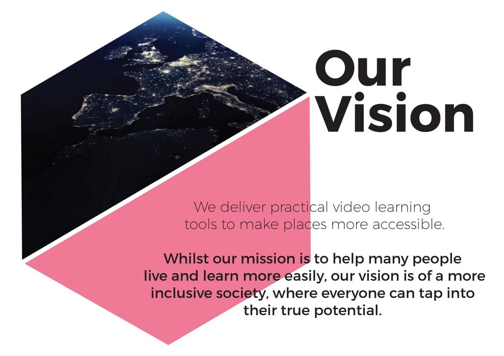 How Do I's Vision - We deliver practical video learning tools to make places more accessible. Whilst our mission is to help many people live and learn more easily, our vision is of a more inclusive society, where everyone can tap into their true potential.