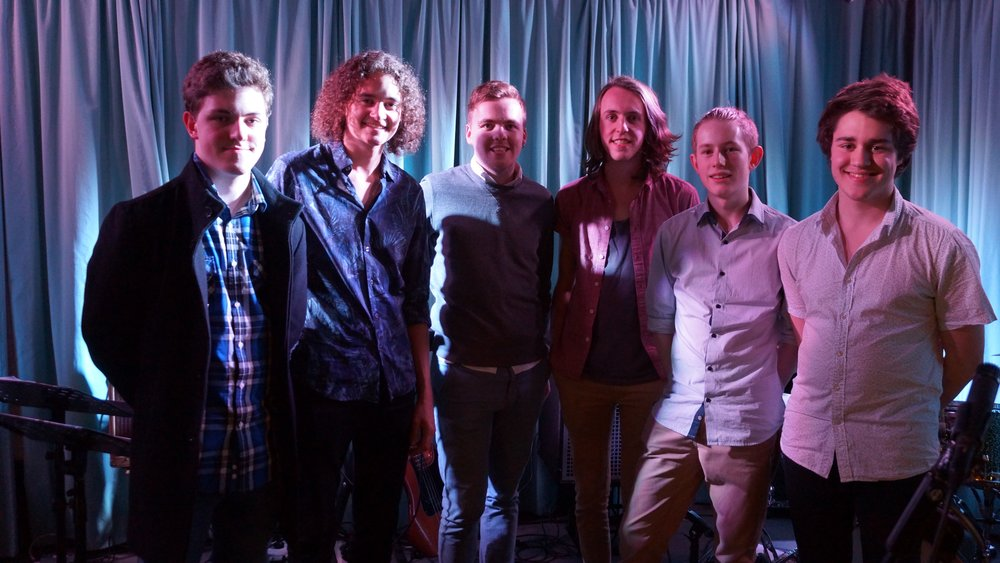 'Fergusson Square' @ The Jade Monkey, 2015, (L-R) David Goodwin, Dylan Kuerschner, Hayden King (leader), Ben Finnis, Alex Flood, Emile Ryjoch