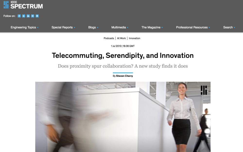 Podcast: Telecommuting, Serendipity, and Innovation: Does proximity spur collaboration? A new study finds it does.