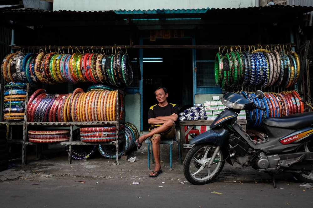 Selling scooter tires in colourful wrappings.