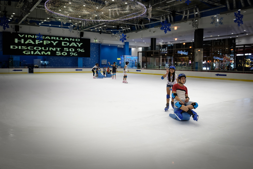 Indoor skating at the Vincom Mall.