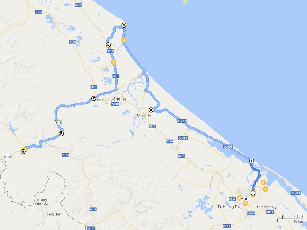 Our route for the first day: A - Tam Giang Lagoon, B - Coconut juice stop, C - Vinh Moc Tunnels, D - Hien Luong bridge, E - Chua Cam Lo temple, F - Chicken farm, G - Khe Sanh