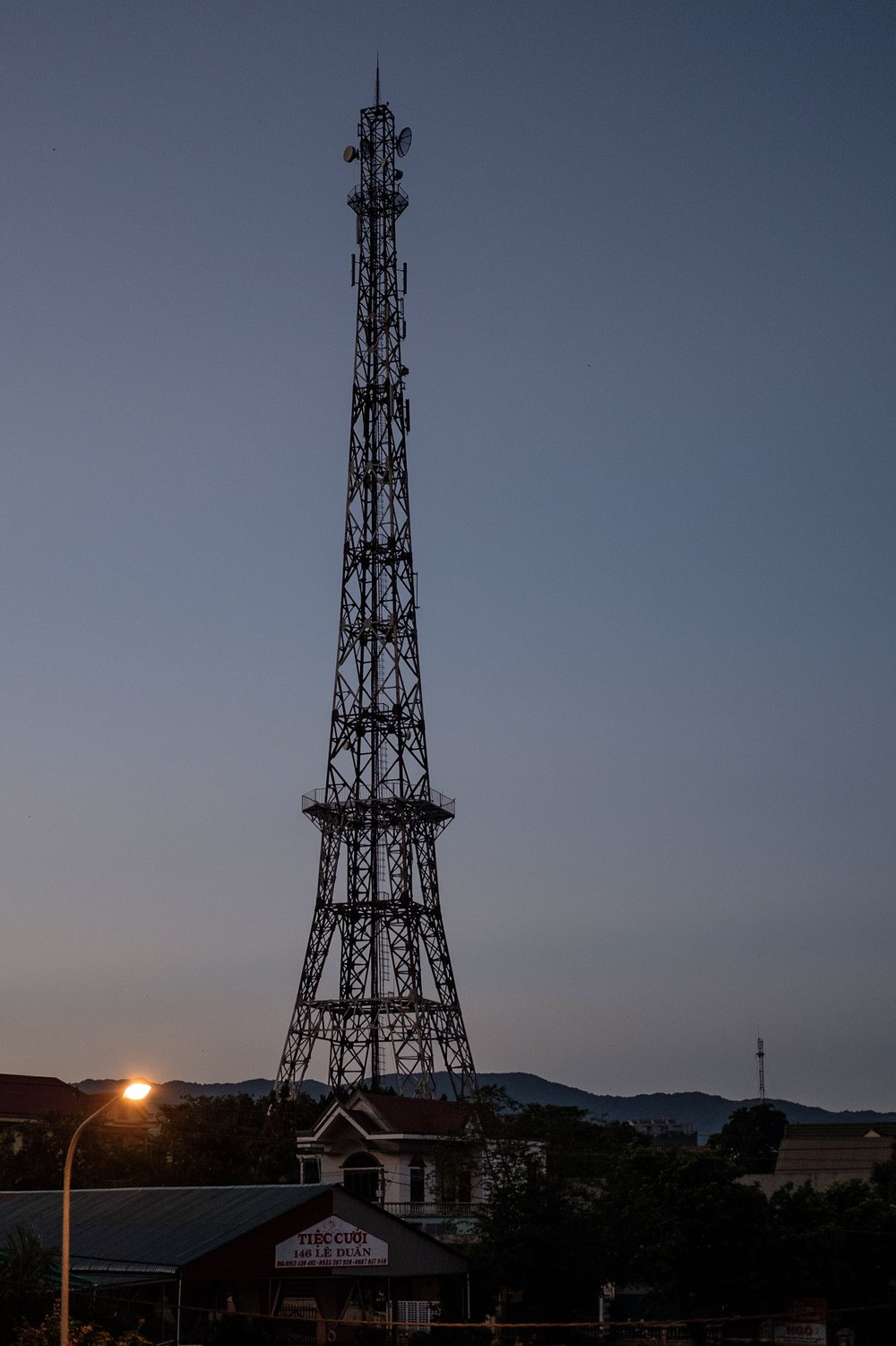 G: Khe Sanh radio tower, seen from my hotel room.