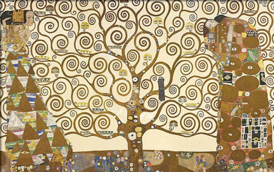 Gustav Klimt,  The Tree of Life    The Stoclet Frieze, 1909-1911, installed in the Stoclet Palace dining room, Brussels