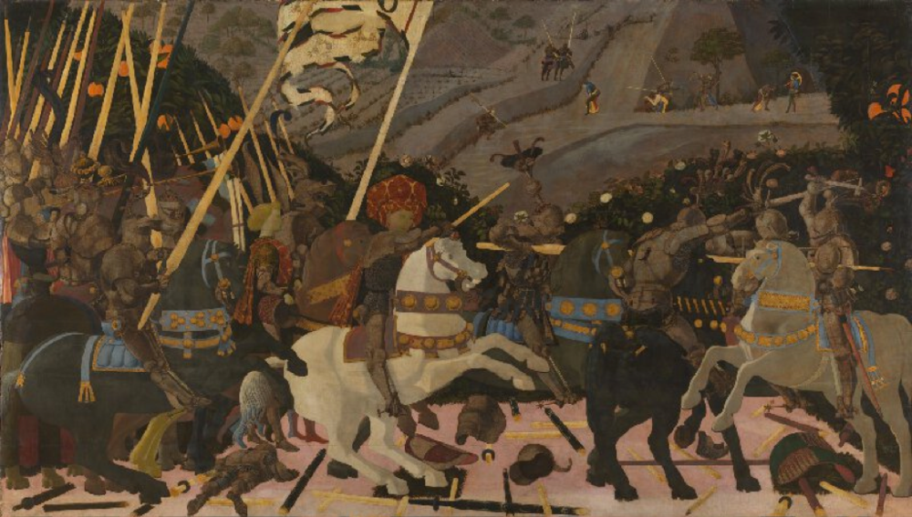 Paulo Uccello,  The Battle of San Romano ,  circa 1438-40. The National Gallery, London.