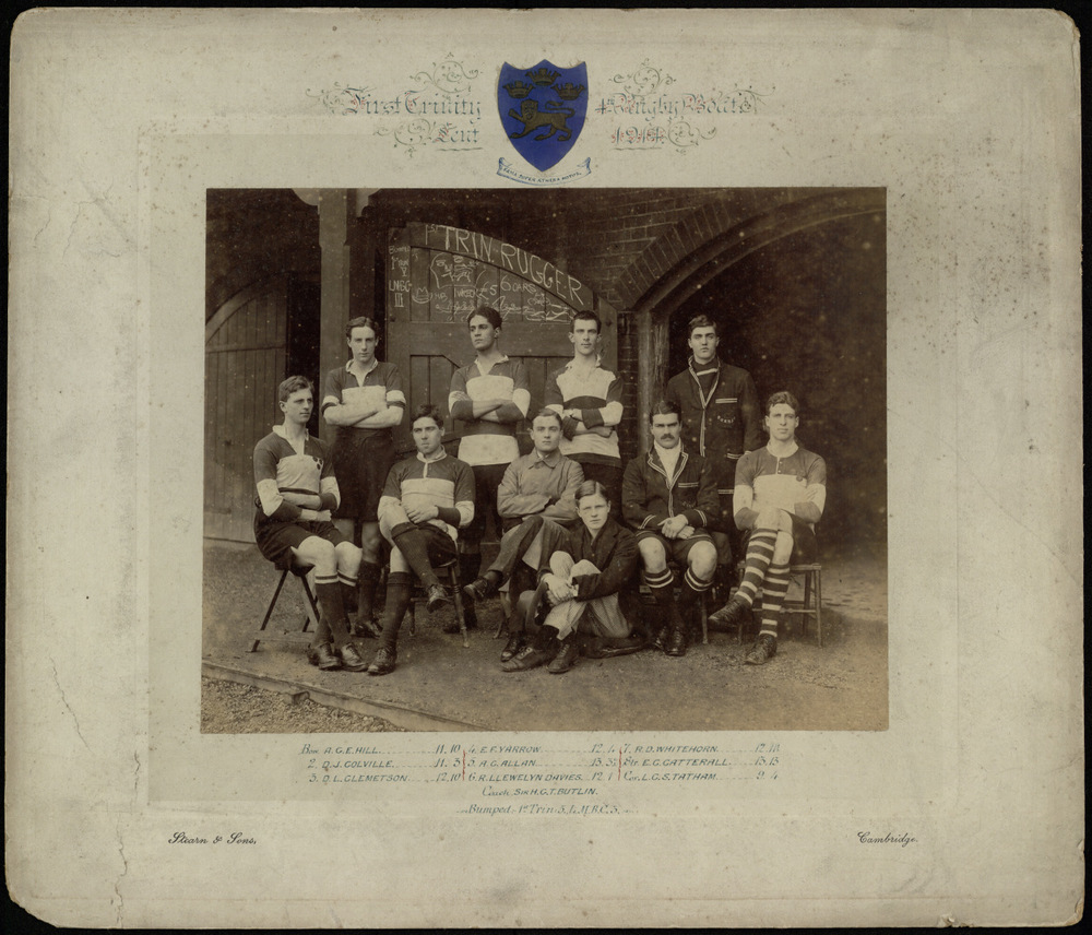 """The First Trinity and Fifth Boat (also known as the """"Rugger Boat"""") team that rowed in the Lent Bumps, February 1914. Courtesy of the Master and Fellows of Trinity College Cambridge,Cambridge University."""