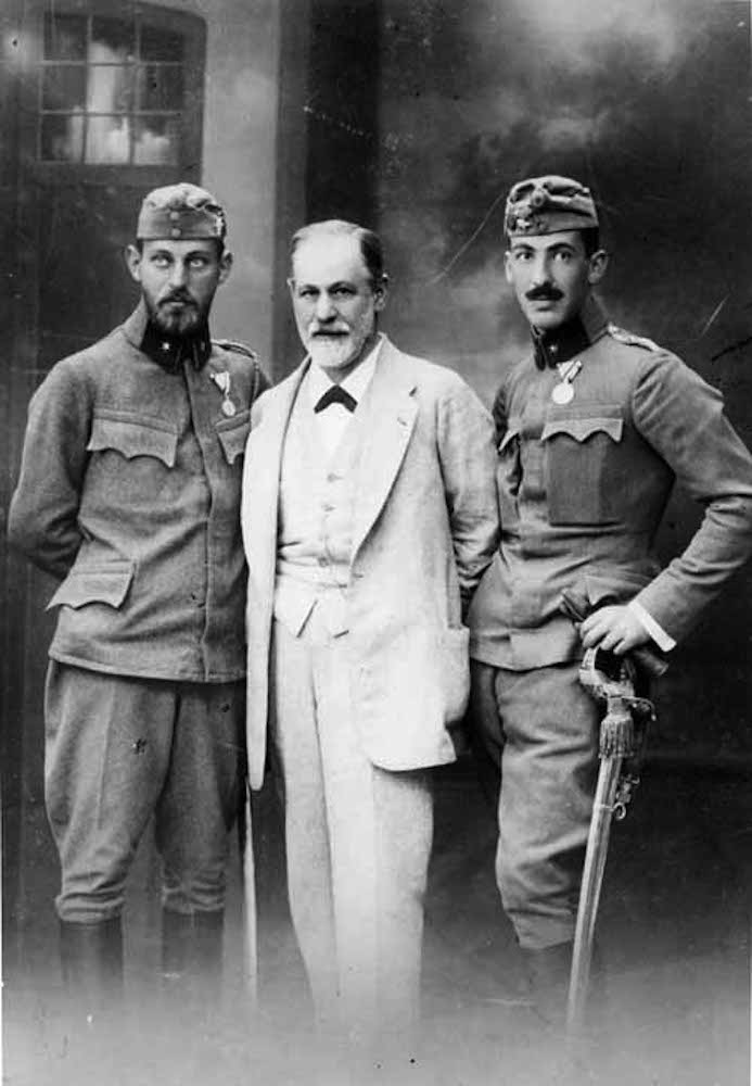 Sigmund Freud posing with his sons Ernst and Martin in military uniform. Austria 1916, cabinet card, Ellinger, vorm Bertel & Pietzner, Library of Congress, Sigmund Freud Collection