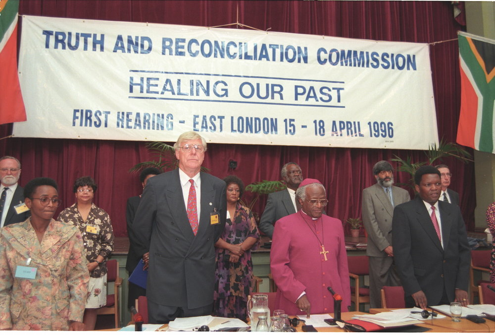 EAST LONDON, SOUTH AFRICA - 1996: Archbishop Desmond Tutu, Chairman of the Truth and Reconciliation Commission at the first TRC hearing in East London.(Photo by Oryx Media Archive/Gallo Images/Getty Images)