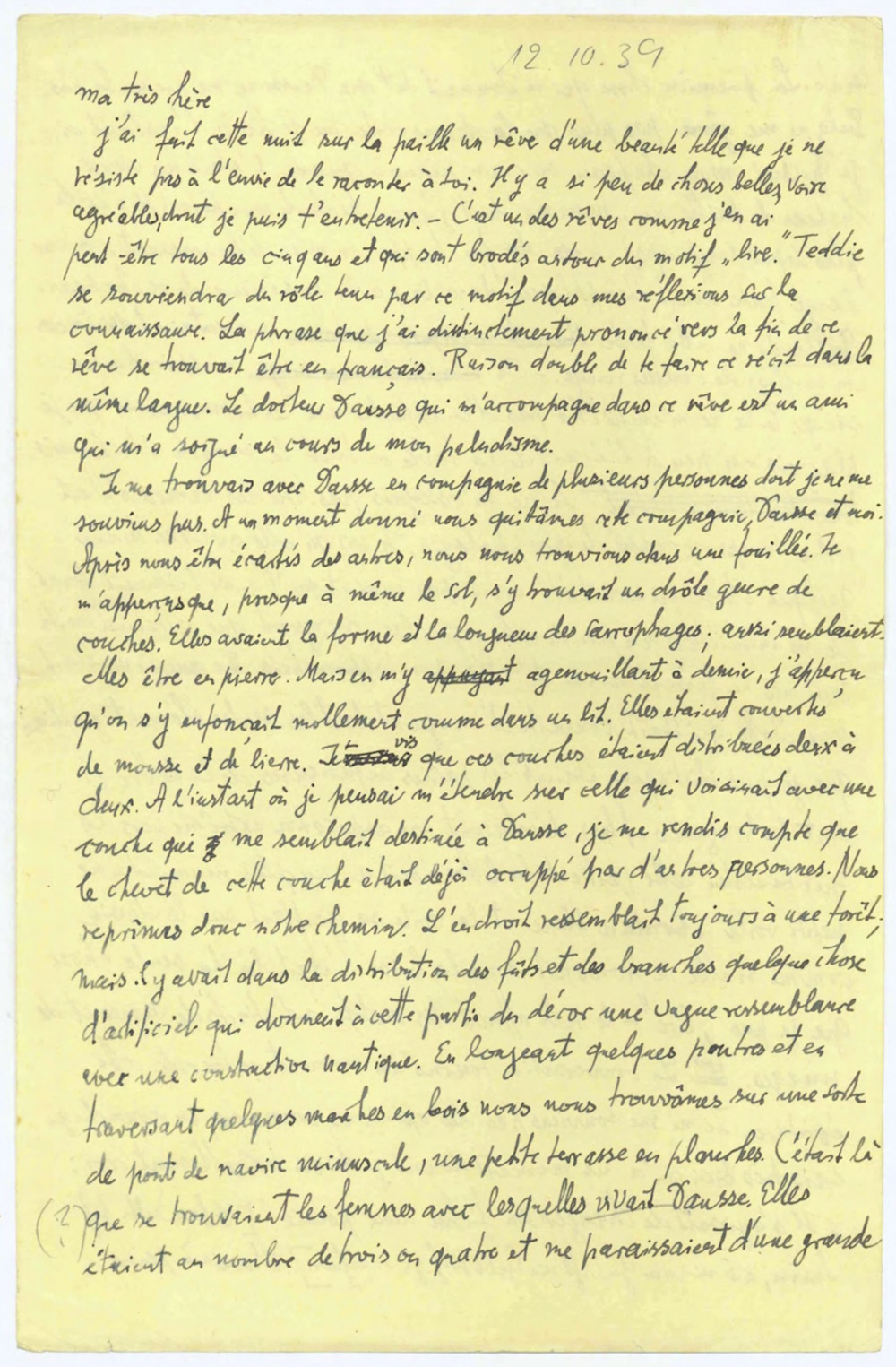The first page of Benjamin's letter to Gretel Adorno, October 12, 1939. Courtesy of the Walter Benjamin Archiv, Academy Akademie der Künste, Berlin.