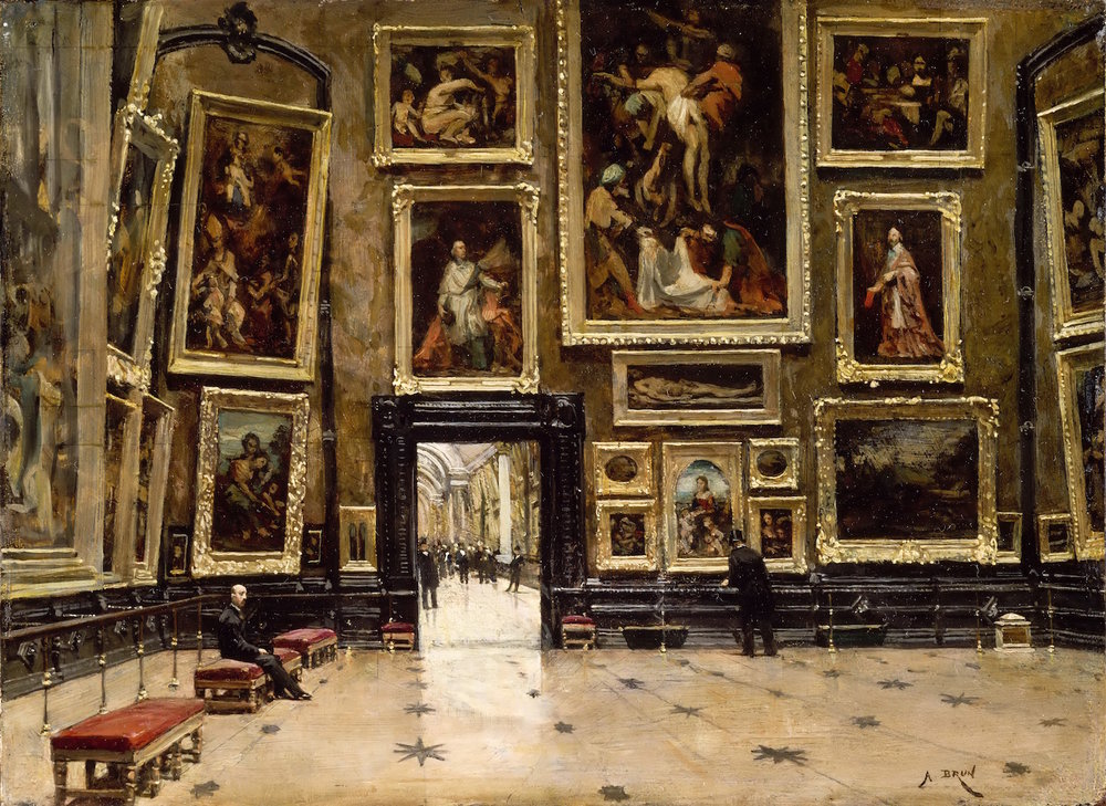 Alexandre Brun,  View of the Salon Carré at the Louvre,  c. 1880