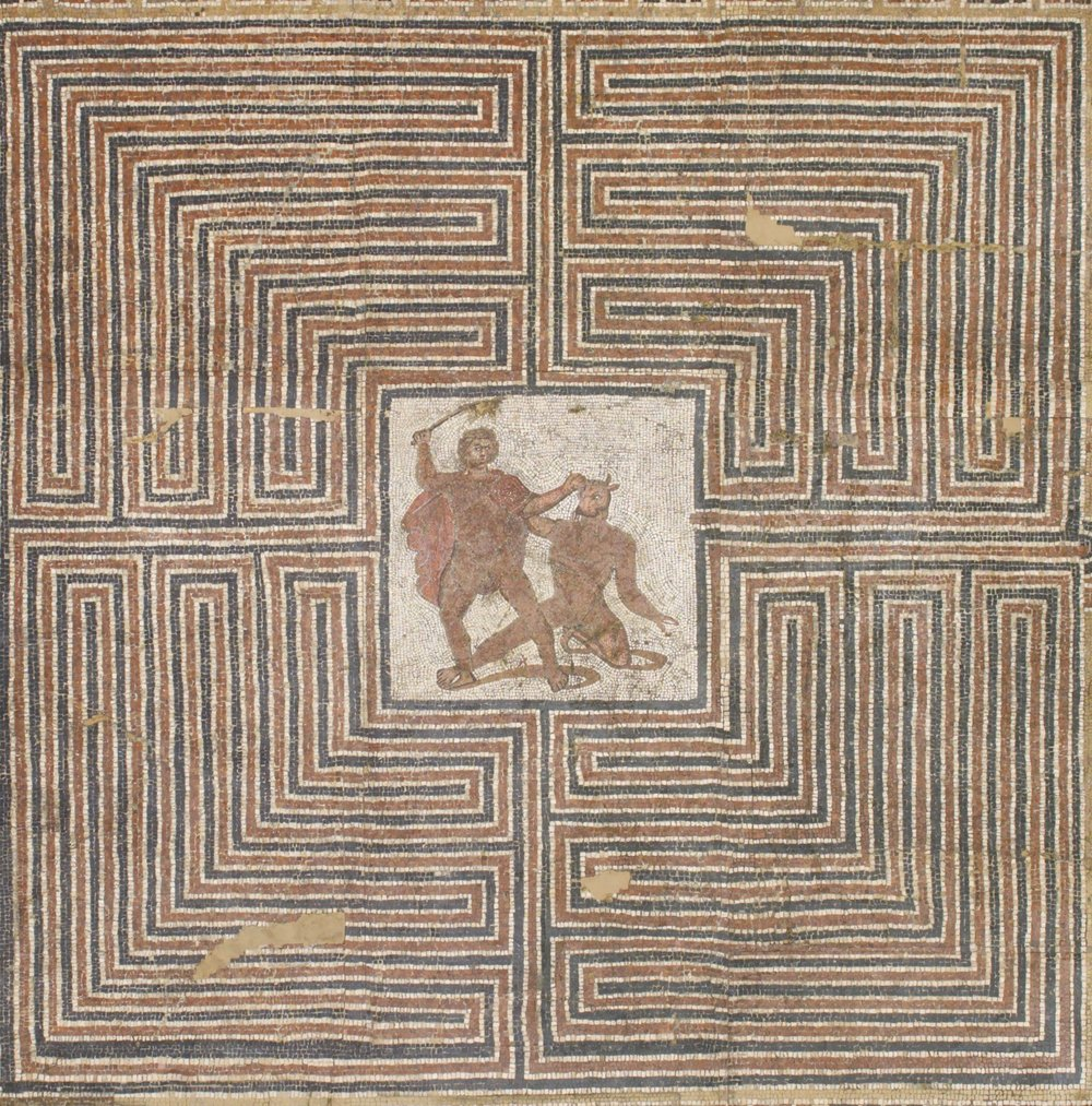 Labyrinth mosaic discovered in the floor of a Roman villa at the Loigerfelder near Salzburg, Austria in 1815.  The Kunsthistorisches Museum in Vienna