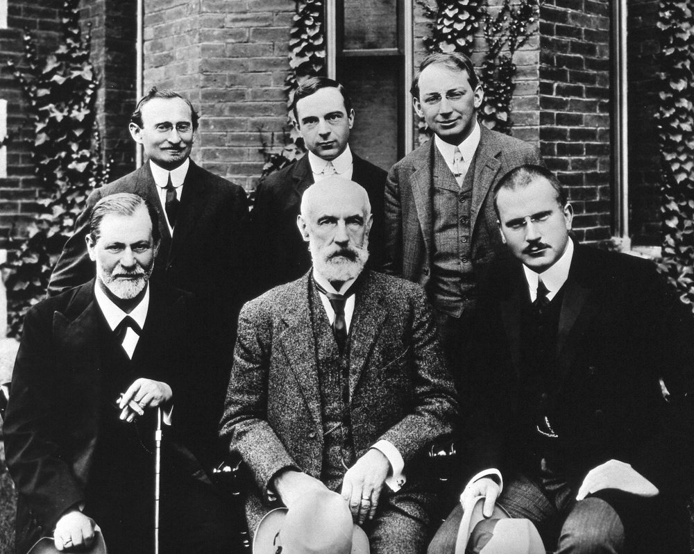 September 1909 at Clark University, Worcester, Mass. Front row, Sigmund Freud, G. Stanley Hall, Carl Jung. Back row, Abraham Brill, Ernest Jones, and Sándor Ferenczi. Library of Congress Prints and Photographs Division.