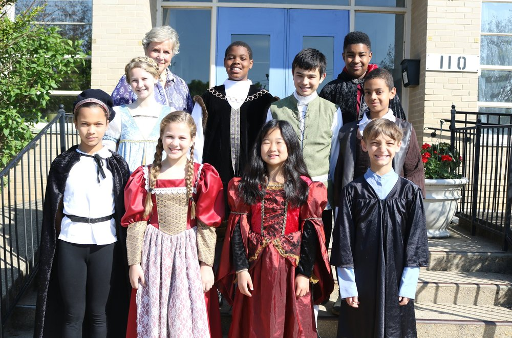 Mrs. Powell and her 5th grade class before their dress rehearsal for  The Merchant of Venice.