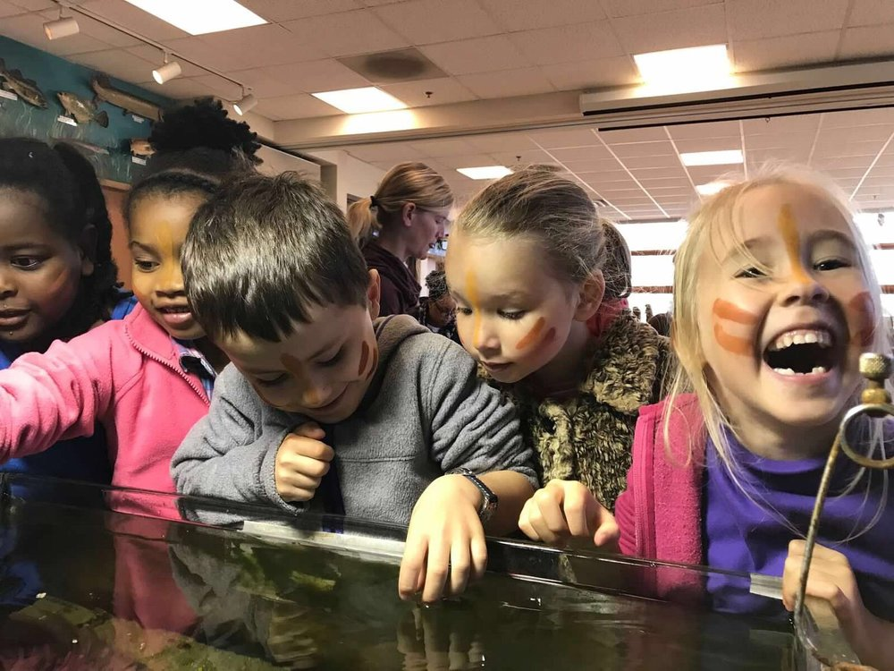 A group of KITS touch a turtle and fish at Marshy Point Nature Center.