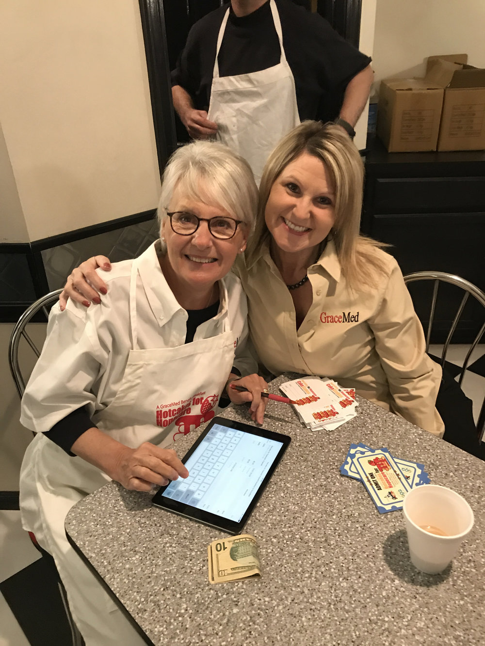 Debbie Sanford & Lesa Dreifort at the first annual Hotcakes for Hopecare