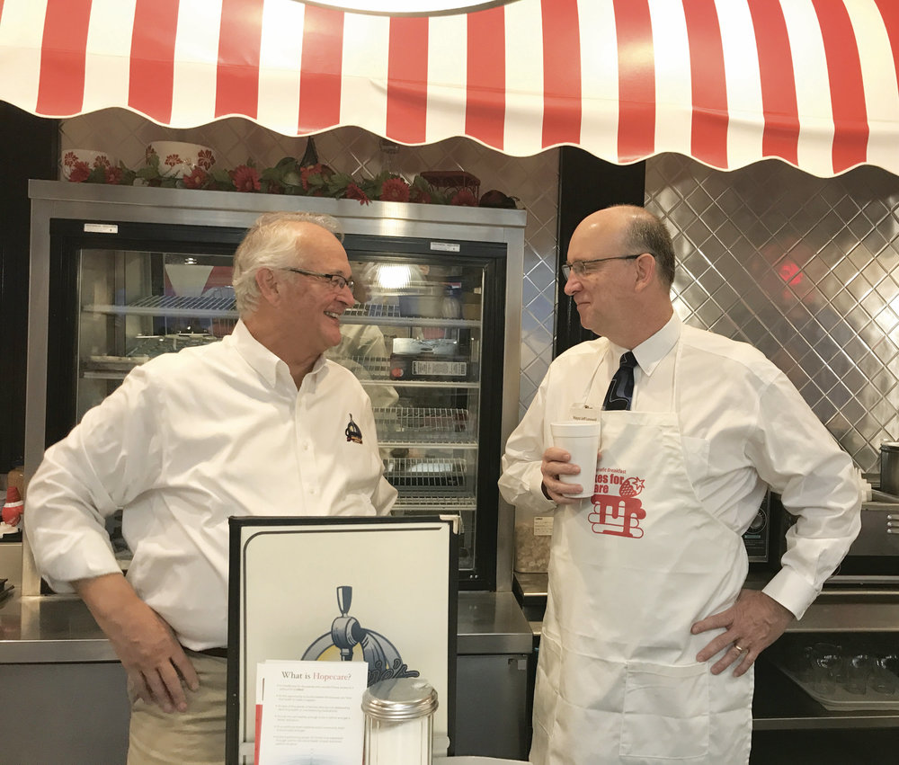Jack Davidson, owner of Jimmie's Diner, and Wichita Mayor Jeff Longwell