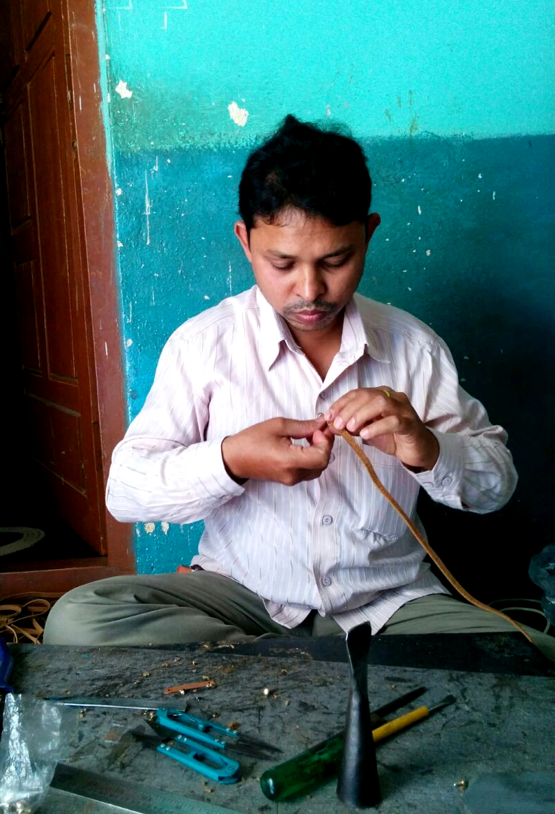This is Moin, our leather guru! He can make anything, anywhere.
