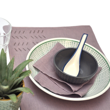 Reversible dried lavender/charcoal placemat with dried lavender napkins