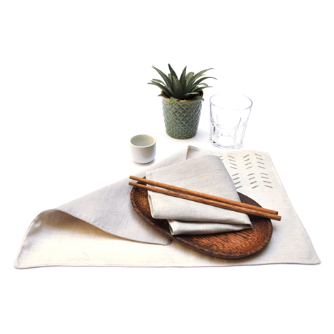 Reversible stone/sand placemat with stone napkins