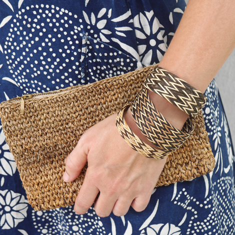 Handwoven Malay Bangles featured with a Common Texture Banana Fiber Clutch
