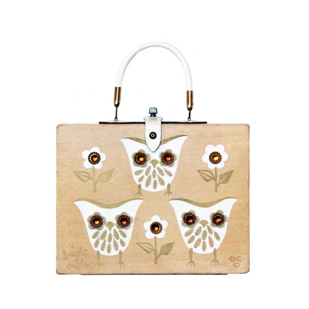 "Enid Collins of Texas 1965 ""bright owls"" box bag   height - 5 3/4""    width - 11""    depth - 2 3/4"""