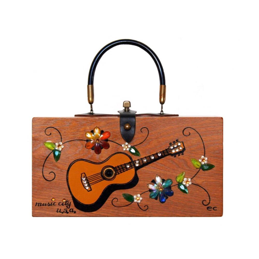 "Enid Collins of Texas ""music city u.s.a."" box bag   height - 5 7/8"" width - 11 3/8"" depth - 2 3/4"""