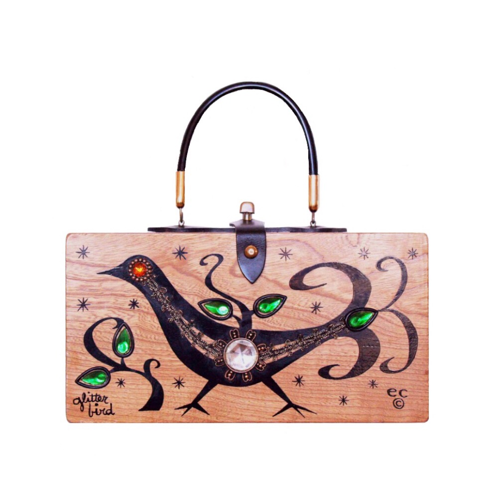 "Enid Collins of Texas ""glitter bird"" box bag   height - 5 3/4"" width - 11 1/8"" depth - 2 3/4"""