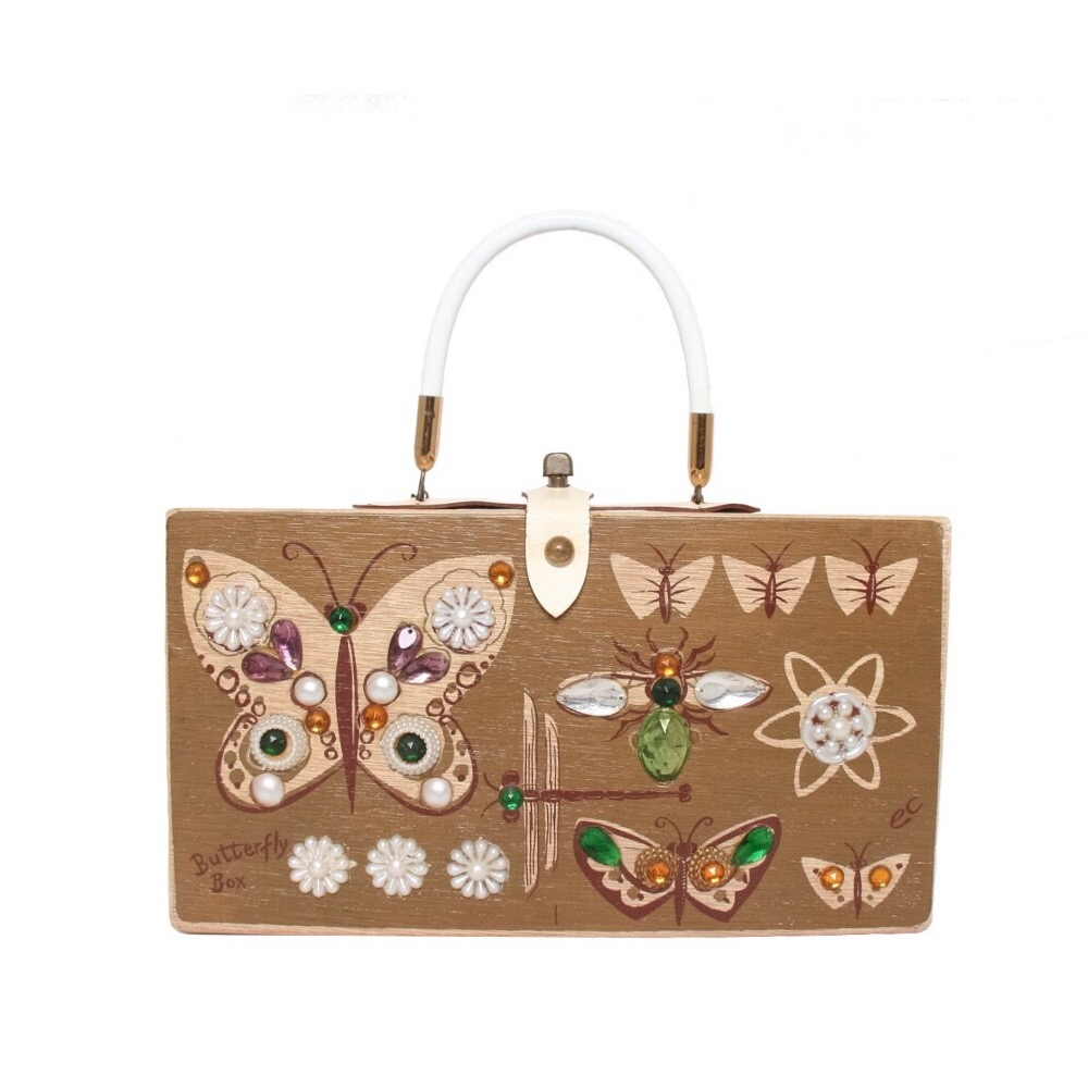"Enid Collins of Texas 1961 ""Butterfly Box"" box bag   height - 6 1/2""    width - 11 3/4""    depth - 2 3/4"""