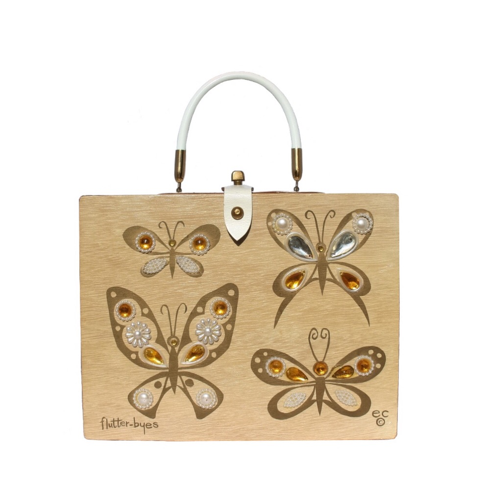 "Enid Collins of Texas 1963 ""flutter-byes"" box bag   height - 8 5/8""    width - 11 1/8""    depth - 2 3/4"""