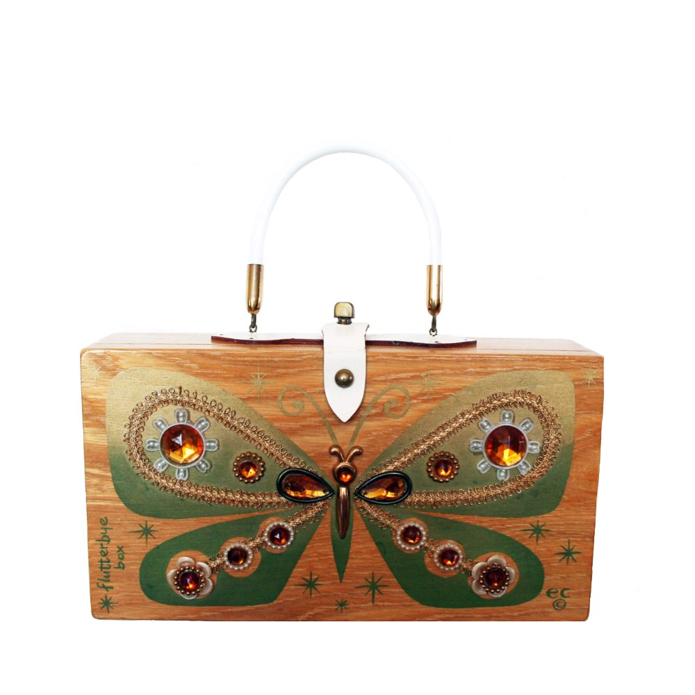 "Enid Collins of Texas 1966 ""flutterbye box"" box bag   height - 6 1/2""    width - 11 7/8""    depth - 2 3/4"""