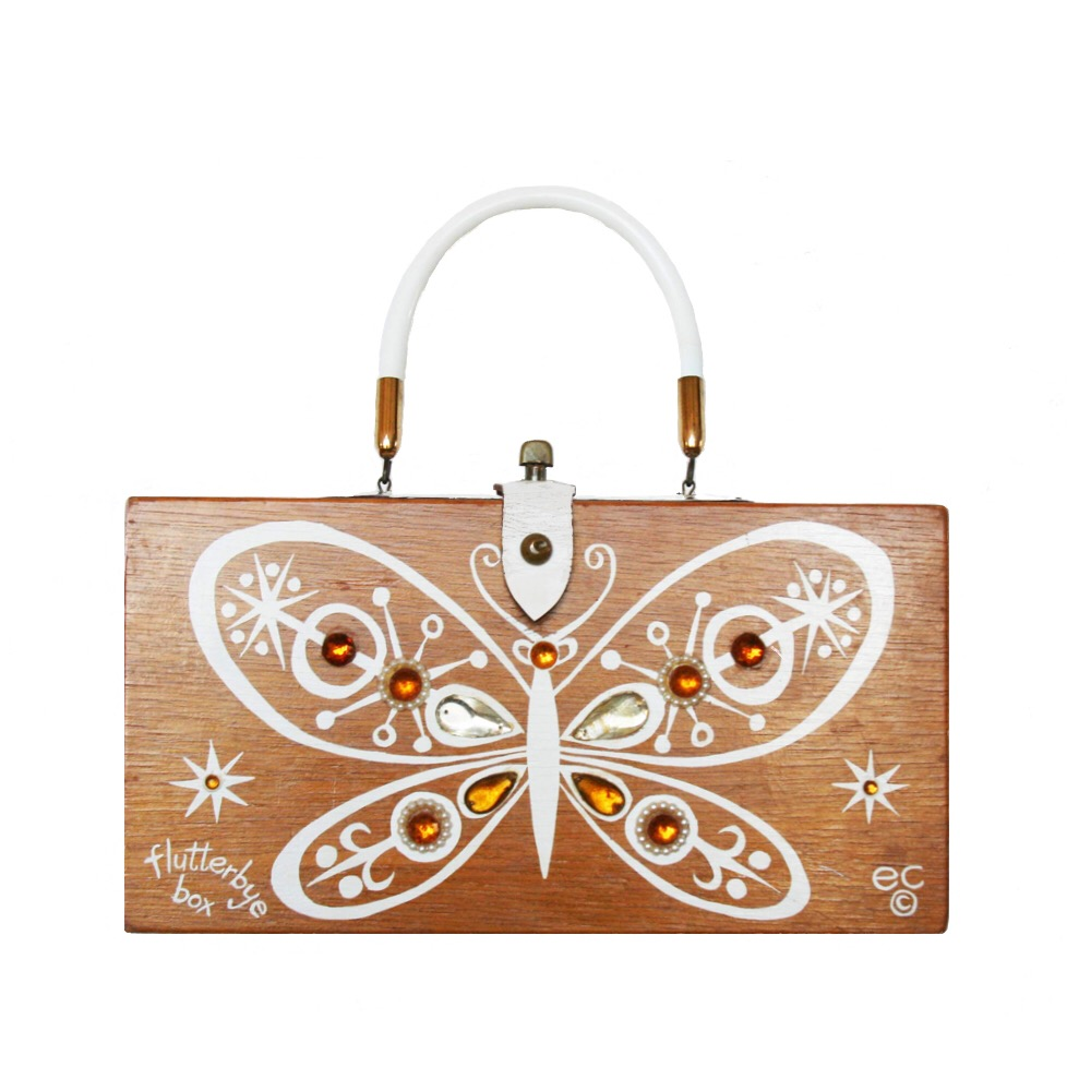 "Enid Collins of Texas 1963 ""flutterbye box"" box bag   height - 5 3/4""    width - 11 1/8""    depth - 2 3/4"""