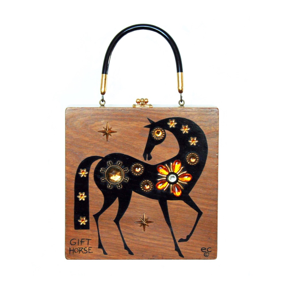 "Enid Collins of Texas 1967 ""GIFT HORSE"" box bag   height - 8 5/8""   width - 8 5/8""   depth - 2 3/4"""