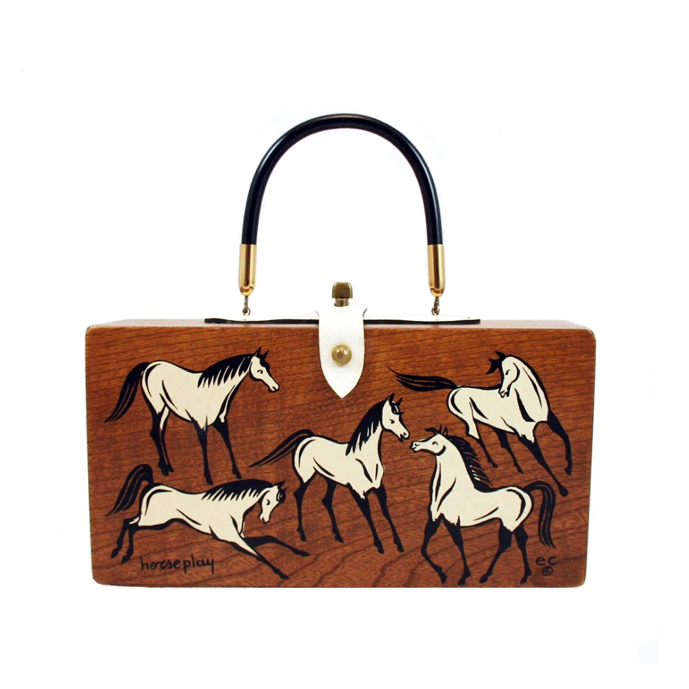 "Enid Collins of Texas ""horseplay"" box bag   height - 5 3/4""    width - 11 1/8""     depth - 2 3/4"""