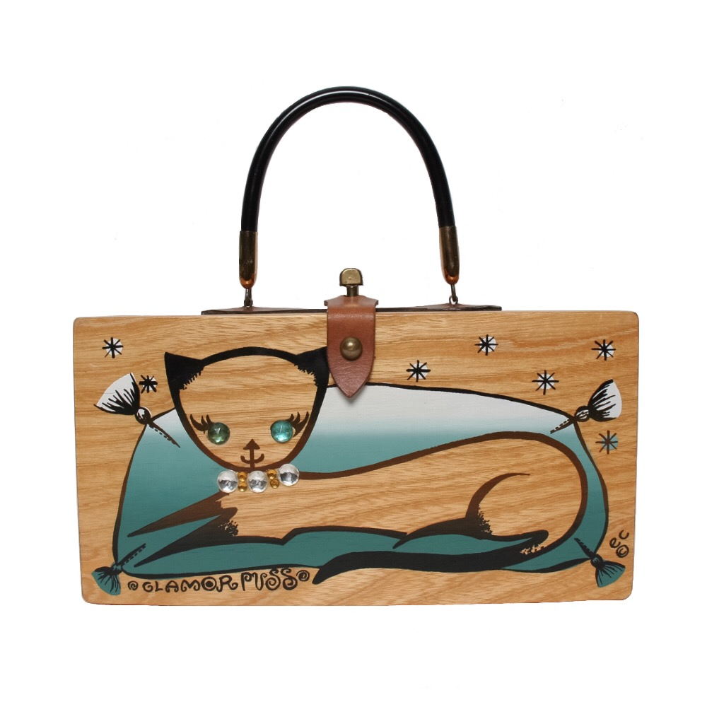 "Enid Collins of Texas 1962 ""GLAMOR PUSS"" box bag   height - 5 3/4""    width - 11 1/8""    depth 2 3/4"""