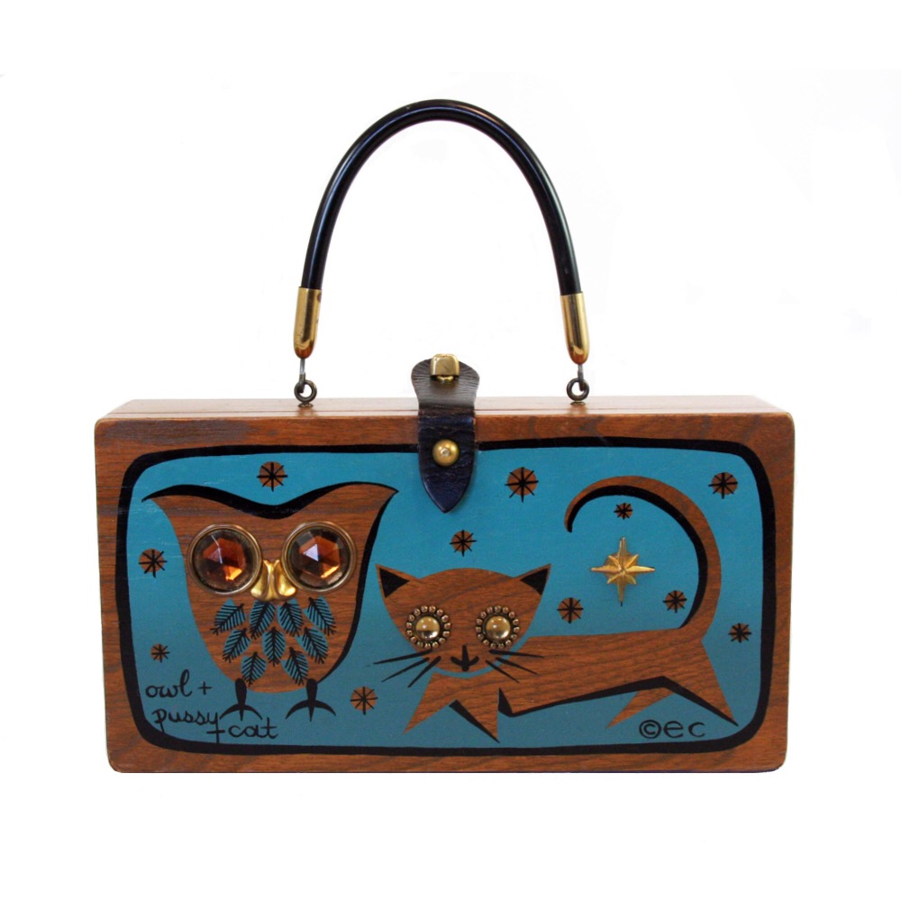 "Enid Collins of Texas ""owl + pussy cat"" box bag   height - 5 7/8""   width - 11 1/8""   depth - 2 3/4"""