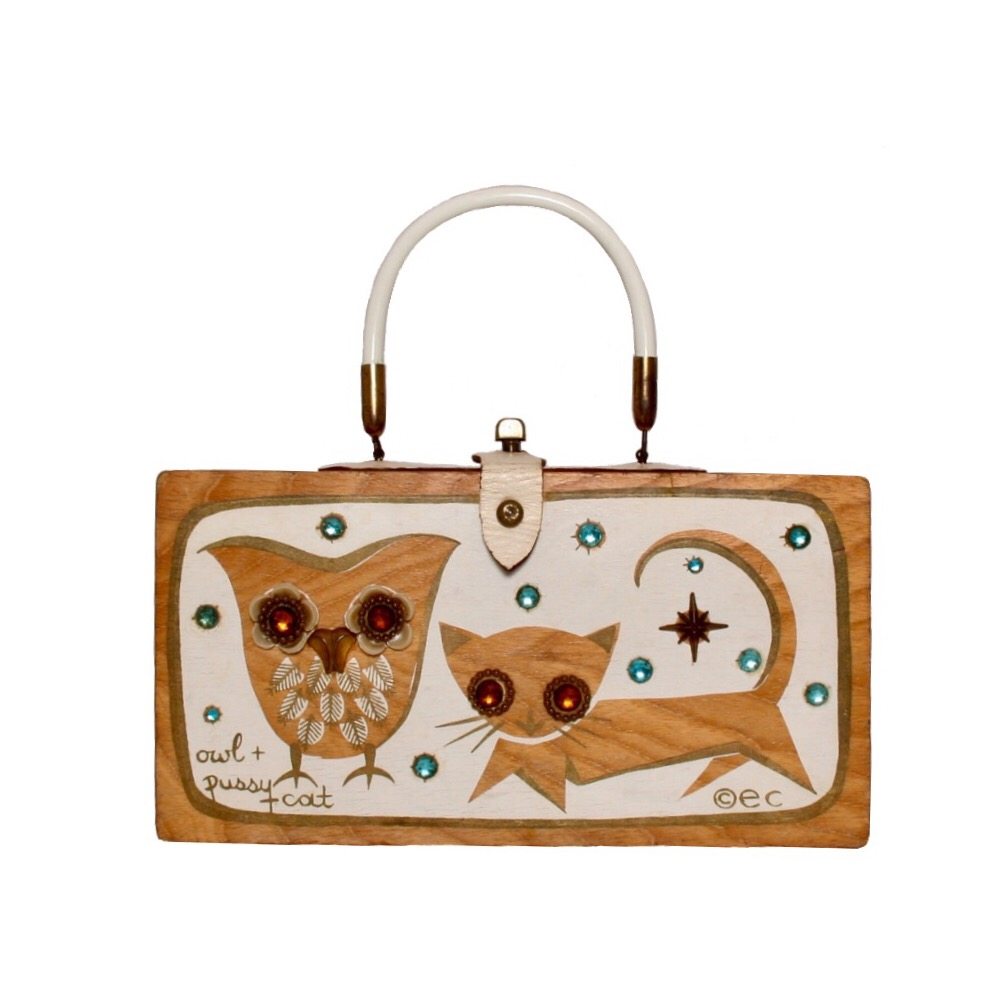 "Enid Collins of Texas 1962 ""owl + pussy cat"" box bag   height - 5 7/8""   width - 11 1/8""   depth - 2 3/4"""