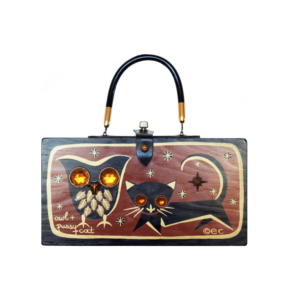 "Enid Collins of Texas 1966 ""owl + pussy cat"" box bag   height - 5 7/8""   width - 11 1/8""   depth - 2 3/4"""