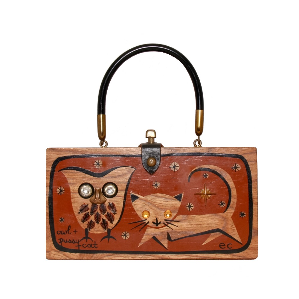 "Enid Collins of Texas ""owl + pussy cat"" box bag   height - 4 7/8""   width - 9 3/8""   depth - 2 1/4"""