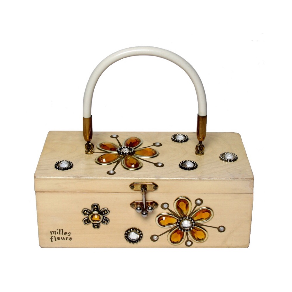 "Enid Collins of Texas ""milles fleurs"" box bag   height - 3 1/4""    width - 8 5/8""    depth - 4 1/4"""