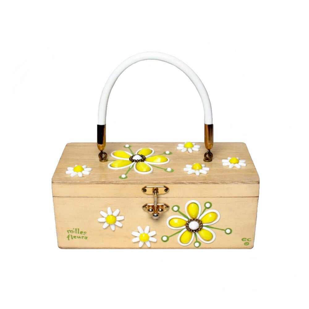 "Enid Collins of Texas ""milles fleurs"" box bag   height - 4 1/4""    width - 8 5/8""    depth - 4 1/4"""