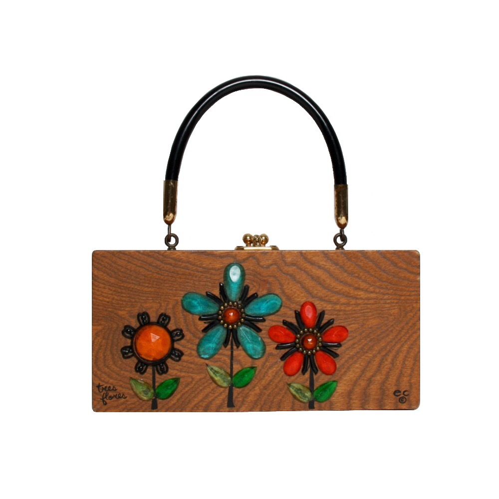 "Enid Collins of Texas ""tres flores"" box bag   height - 4 1/4""    width - 8 5/8""    depth - 1 7/8 """