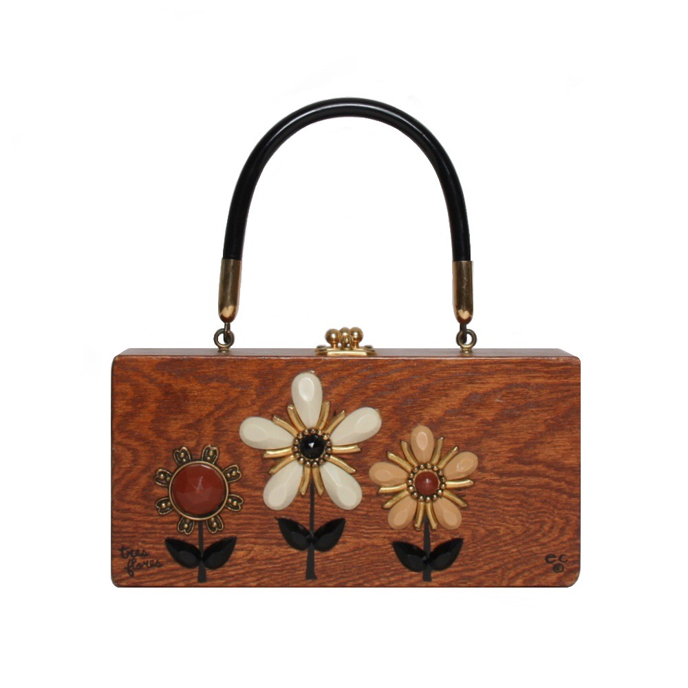 """Enid Collins of Texas """"tres flores"""" box bag   height - 4 1/4"""" width - 8 5/8""""  depth - 1 7/8 """""""