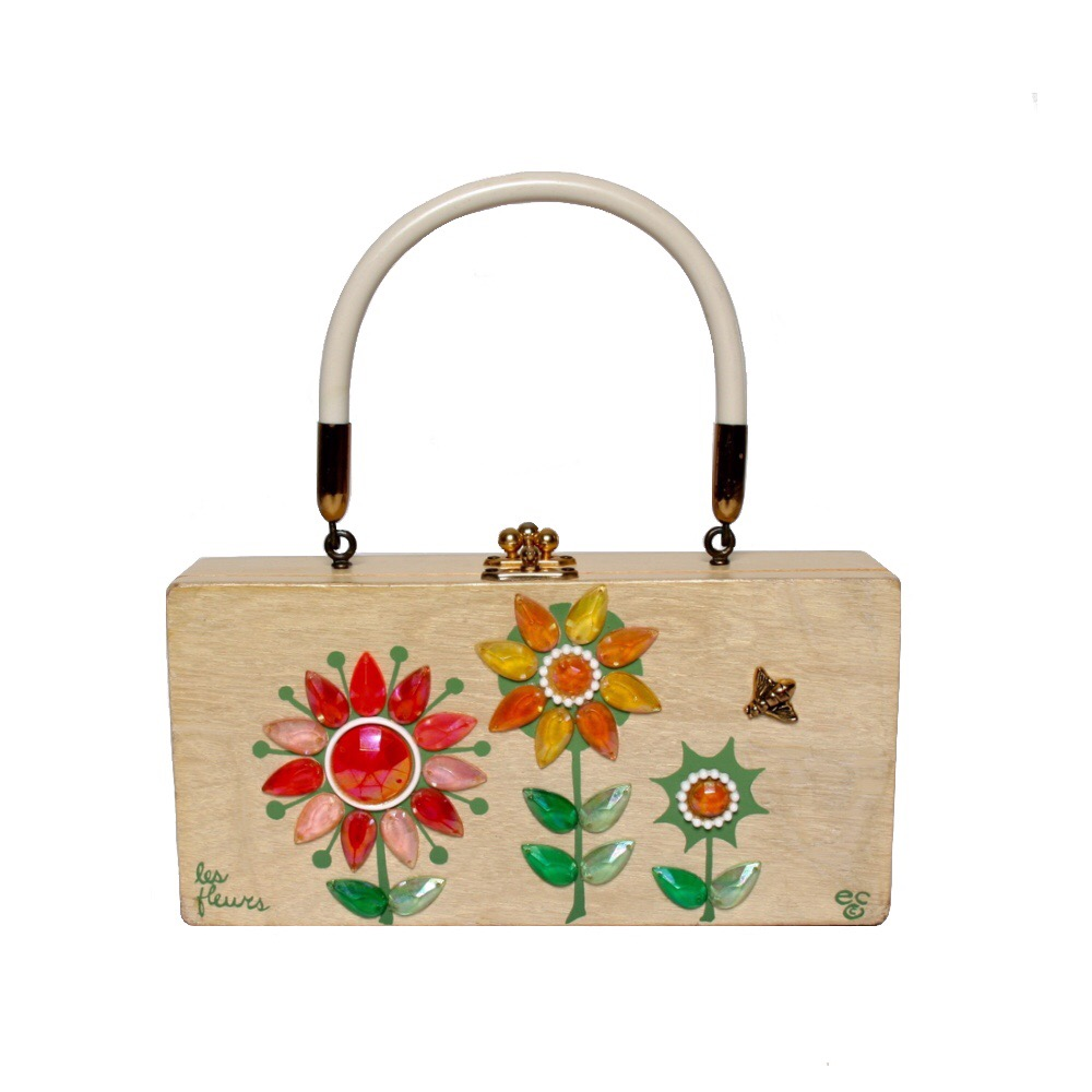 "Enid Collins of Texas ""les fleurs"" box bag   height - 4 1/4""    width - 8 5/8""    depth - 1 7/8"""